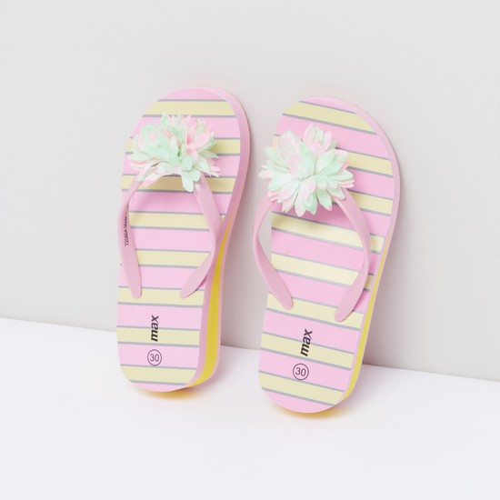 Striped Flip Flops with Flower Detail