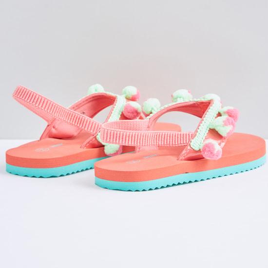 Pom Pom Detail Flip Flops with Elasticised Backstrap