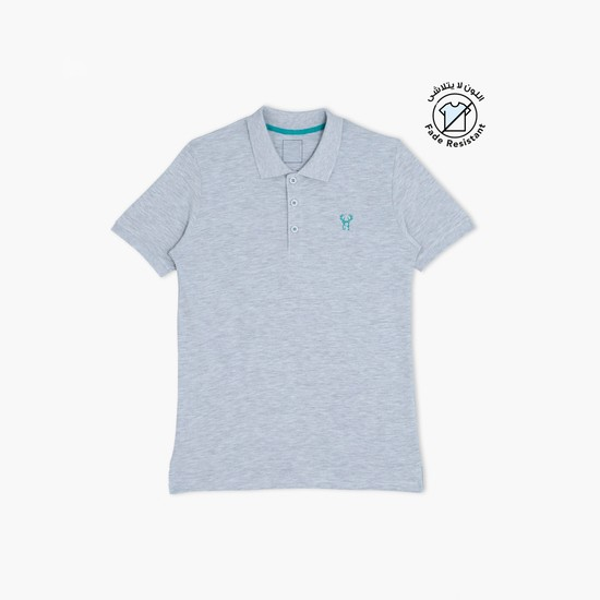 Polo Neck Short Sleeves Melange T-Shirt
