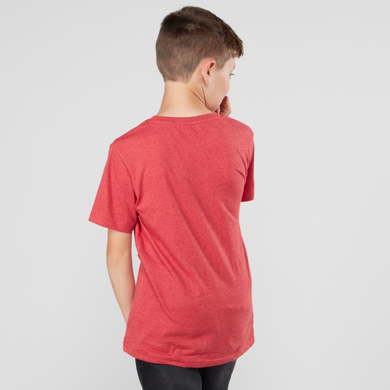 Embossed T-shirt with Round Neck and Short Sleeves