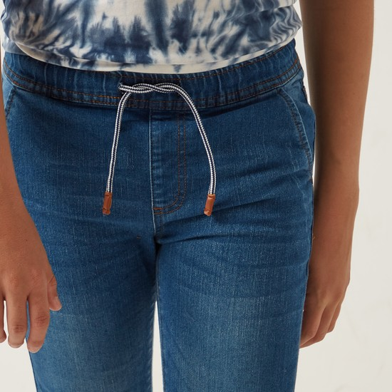 4-Pocket Denim Joggers with Drawstring Closure