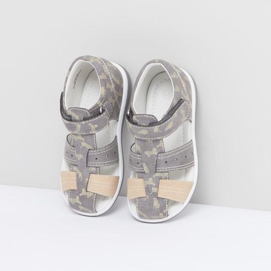 Printed Sandals with Hook and Loop Closure