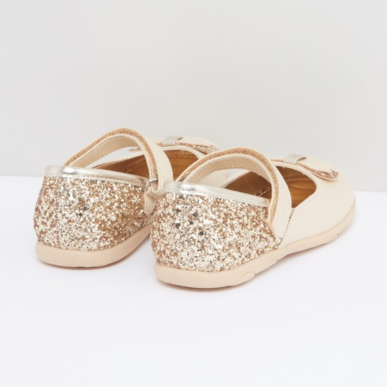 Glitter and Bow Detail Mary Jane Shoes with Hook and Loop Closure