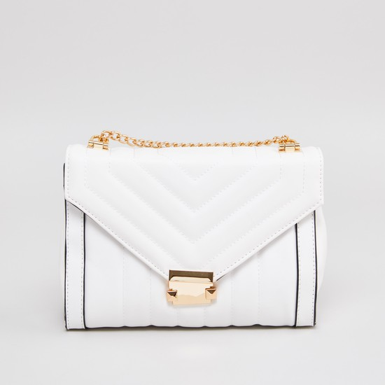 Textured Satchel Bag with Metallic Clasp