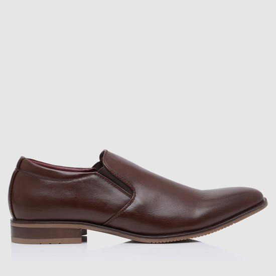 Slip-On Textured Formal Shoes with Gussets