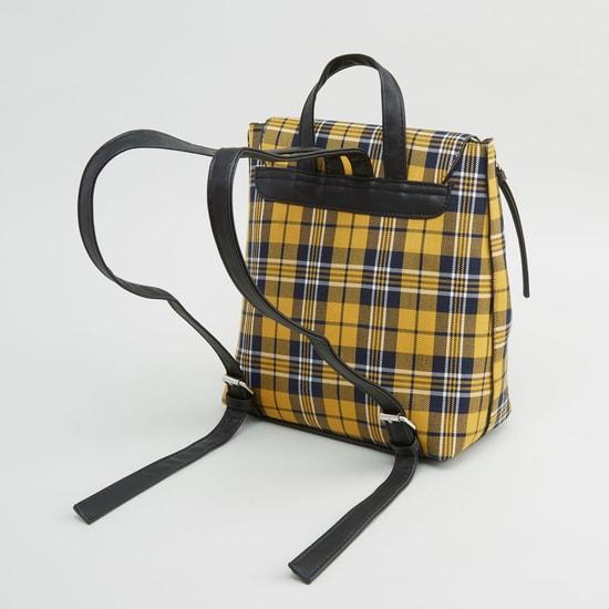 Checked Backpack with Adjustable Shoulder Straps