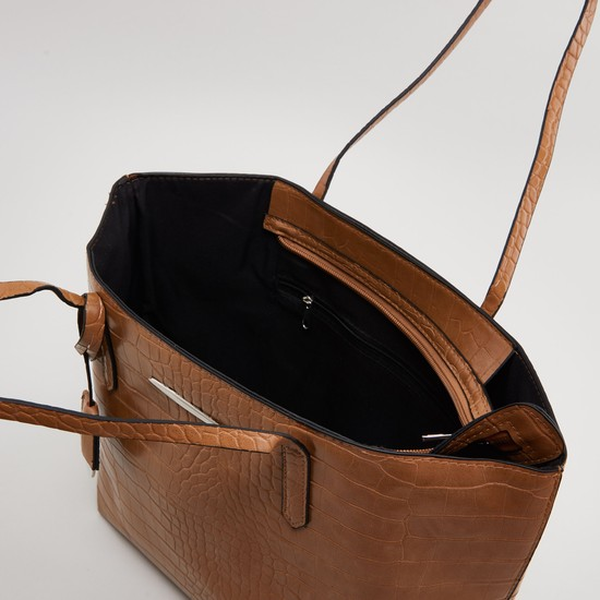 Textured Hand Bag with Shoulder Straps