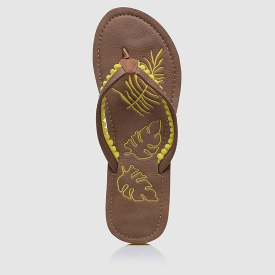 Embroidered Thong Slippers