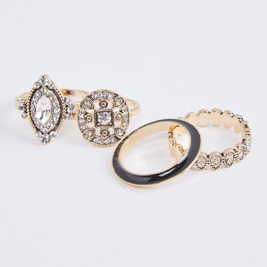 Assorted Metallic Finger Ring - Set of 4