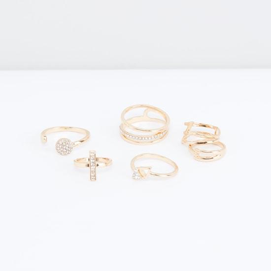 Assorted Metallic Finger Ring - Set of 6
