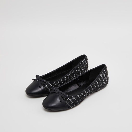Printed Ballerinas with Bow Applique Detail