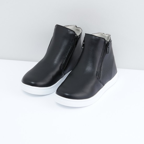 Perforated Boots with Zip Closure