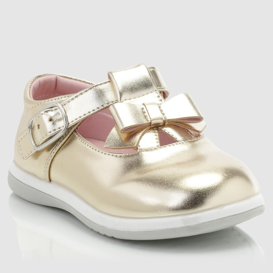 Mary Jane Shoes with Buckle Closure and Bow Applique