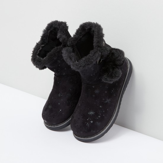 Plush and Pom-Pom Detail Boots with Zip Closure