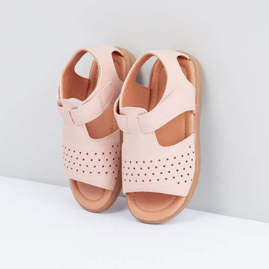 Perforated Sandals with Hook and Loop Closure