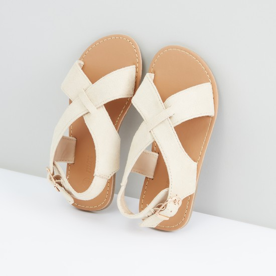 Cross Strap Sandals with Buckle Closure