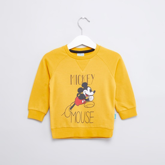 Mickey Mouse Printed Sweatshirt with Round Neck and Long Sleeves
