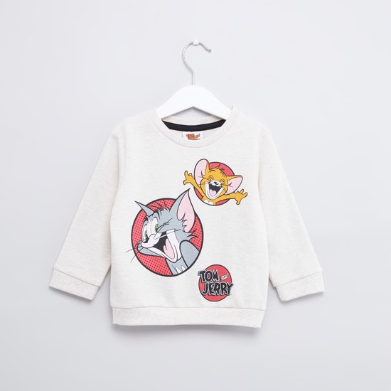 Tom and Jerry Printed Sweatshirt with Round Neck and Long Sleeves