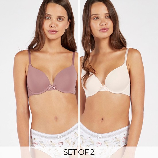 Pack of 2 - Solid Padded Wired Plunge Bra with Hook and Eye Closure