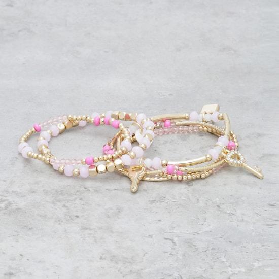 Beaded Charm Bracelet - Set of 6
