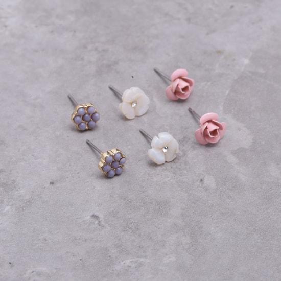 Floral Embellished Bracelet and Earrings Set