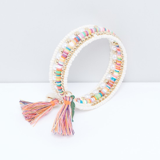 Pearl and Bead Detail Bangle with Tassels