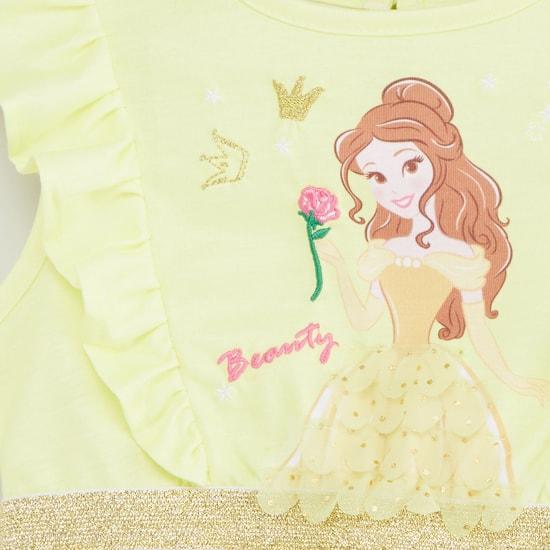 Princess Print Sleeveless Dress with Round Neck