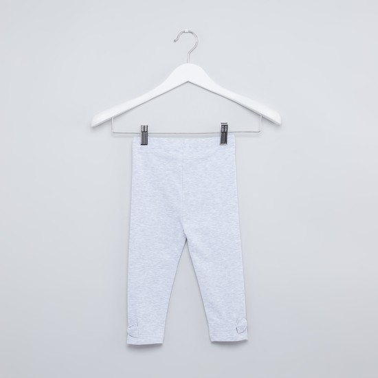 Heathered Leggings with Elasticised Waistband and Bow Applique