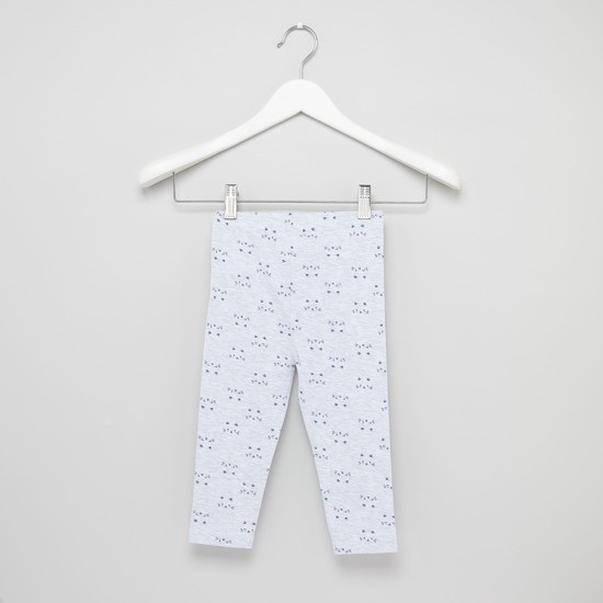 Cat Face Printed Leggings with Elasticised Waistband