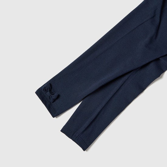 Textured Leggings with Elasticised Waistband and Bow Accent