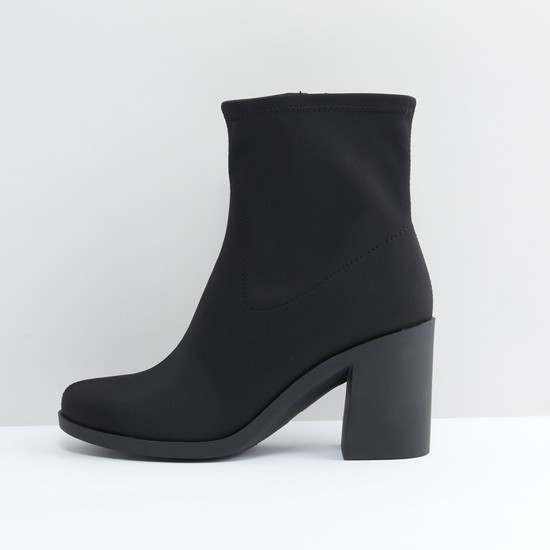 Block Heel Boots with Stitch Detail and Zip Closure