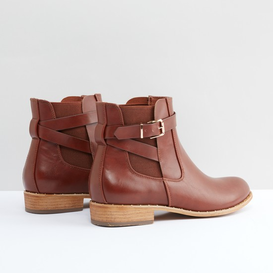 Ankle Boots with Pin Buckle Closure and Elasticised Gussets
