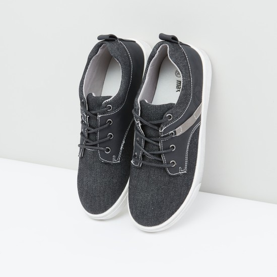 Textured Shoes with Lace-Up Closure