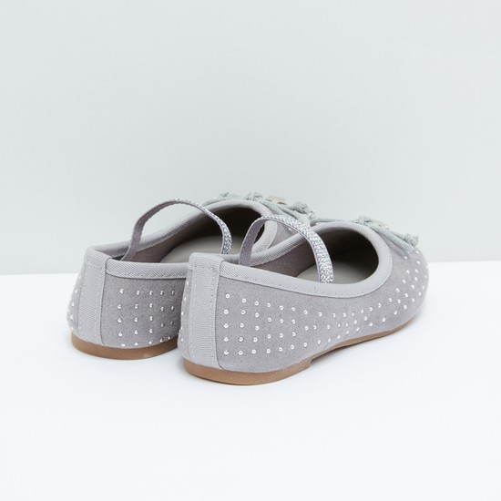 Studded Ballerina Shoes with Bow Detail