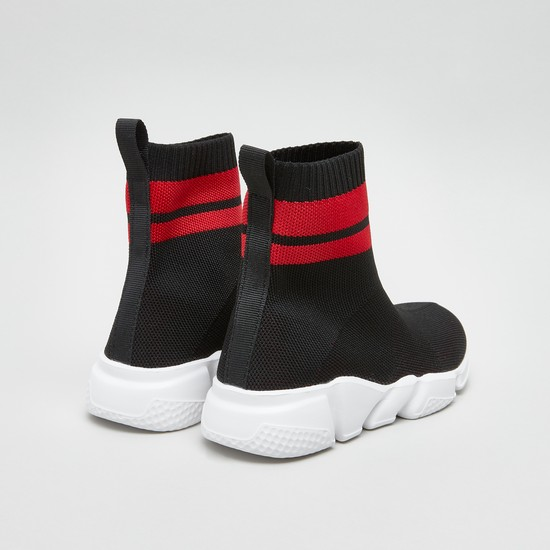 Textured High Top Sneakers with Stripe Detail and Pull Tab