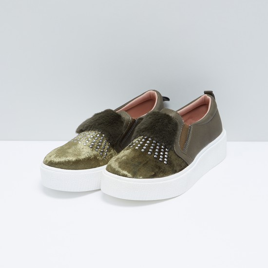Studded Slip-On Shoes with Plush Detail and Gussets