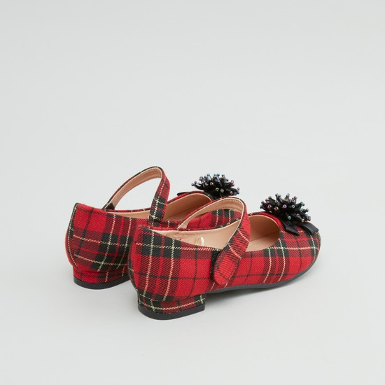 Plaid Textured Mary Janes