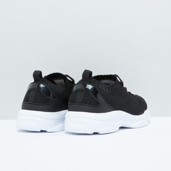 Textured Lace-Up Shoes with Elasticised Collar