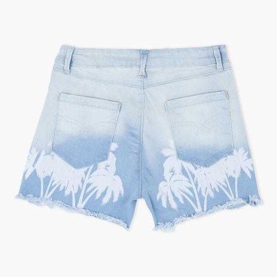 Printed Shorts with Fringe Hem