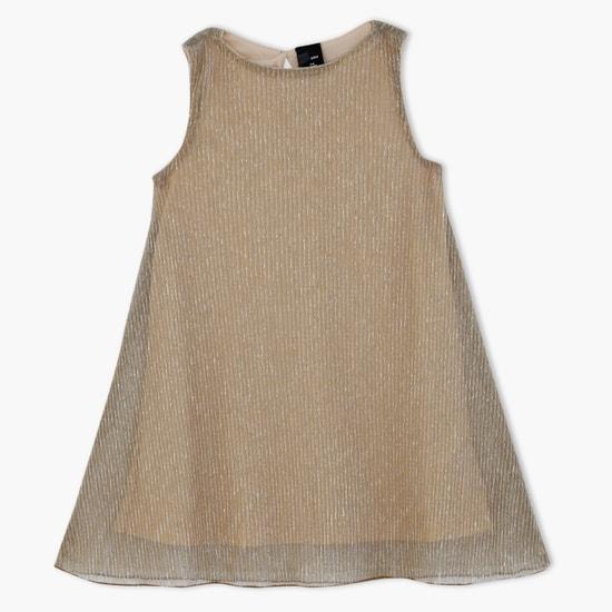فستان منسوج بنقش مقلّم بارز الملمس بدون أكمام
