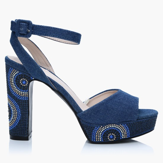 Embellished Block Heel Shoes with Ankle Strap