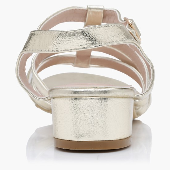 Multi Strap Block Heel Sandals with Buckle Closure