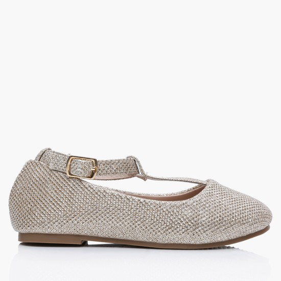Textured Slip-On Shoes with Buckle Strap