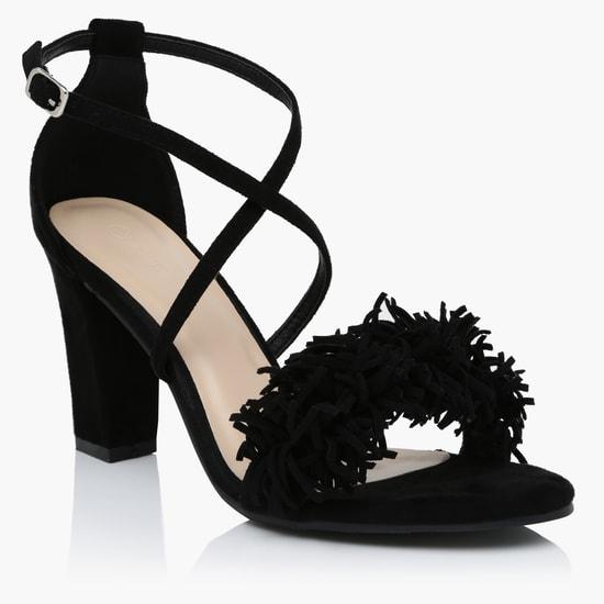 Block Heels Sandals with Buckle Closure