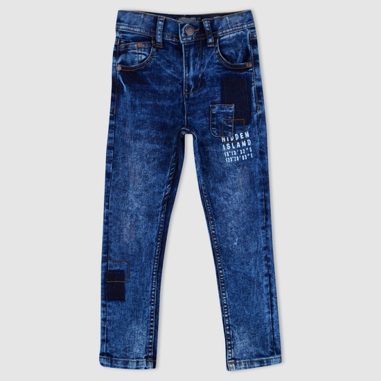 Printed Full Length Distressed Jeans with Pocket Detail
