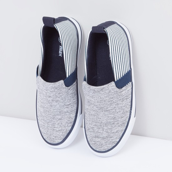 Slip-On Shoes with Elasticised Gussets and Stripes