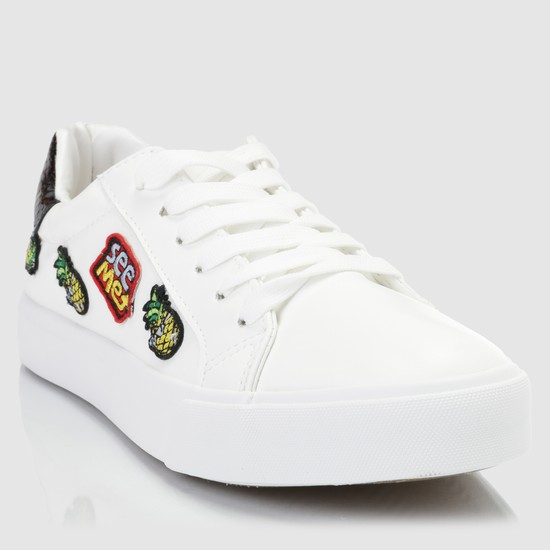 Applique Detail Lace-Up Sneakers