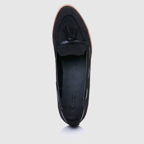 Textured Slip-On Shoes with Tassels