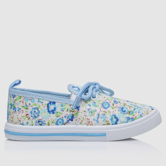 Floral Print Lace-Up Sneakers