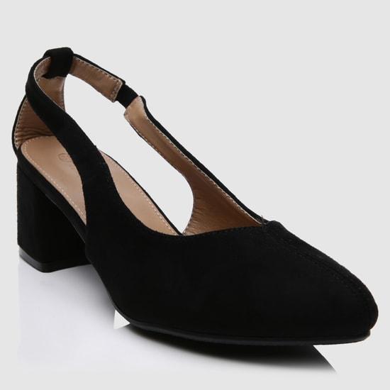 Block Heel Shoes with Buckle Closure